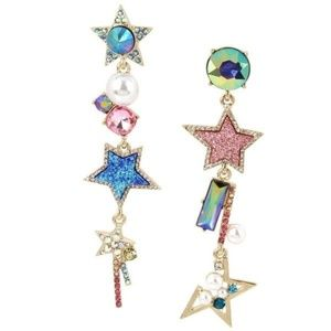 Betsey Johnson Celestial Starlet Linear Earrings
